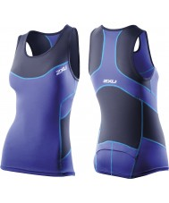 2XU Maglia donna blu navy compressione tri singlet