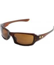 Oakley Oo9238-07 cinque quadrati lucido Rootbeer - occhiali da sole scuri di bronzo