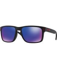 Oakley Oo9102-36 opaco nero Holbrook - occhiali da sole rossi Iridium