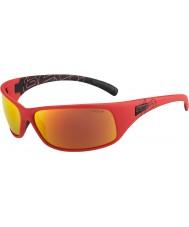 Bolle Recoil opaco rosso polarizzato TNS occhiali da sole di fuoco